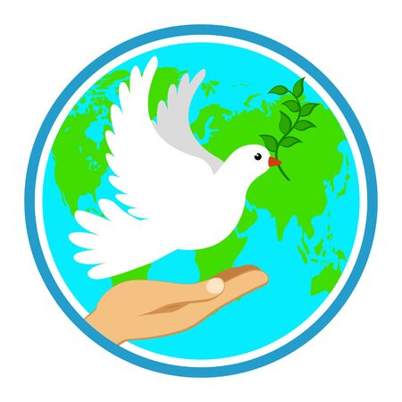 Hand with a dove of peace on the background of planet earth. International peace day Banco de Imagens