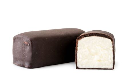 Glazed curd covered with chocolate and half on a white. Isolated Banco de Imagens - 129552921