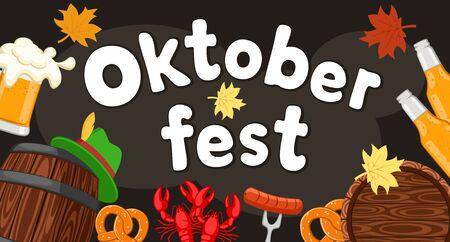 Oktoberfest background, beer in a barrel and a glass with pretzels and lobsters on a black.