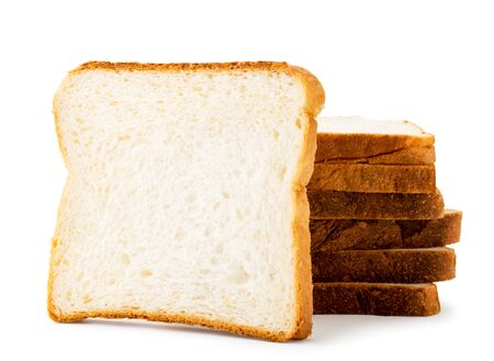 Stack of toast bread on a white background. Isolated Banco de Imagens