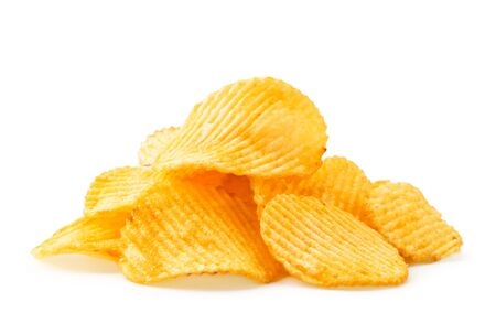 Pile of potato chips fluted close-up on a white background. Isolated.