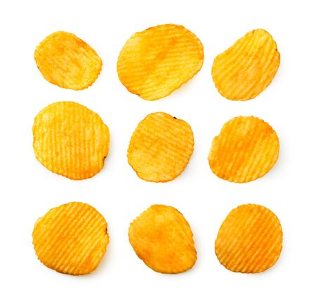 Set of corrugated chips on a white. The view of the top. Banco de Imagens - 129552996