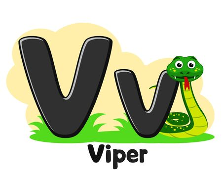 Alphabet snake Viper, letter Vv on a white. Preschool education.