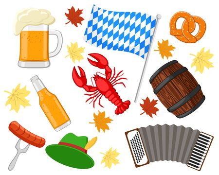 Set of objects for the holiday Oktoberfest on a white. Banco de Imagens