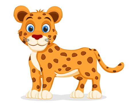 Young Jaguar stands on a white background. Character Banco de Imagens