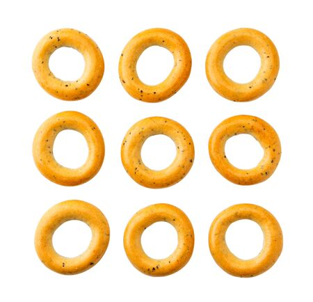 Set bagels cut on a white. Isolated Banco de Imagens - 129553063