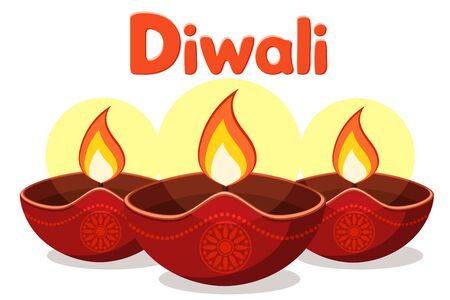 Diwali festival of lights on a white background. Indian festival Banco de Imagens - 129553076