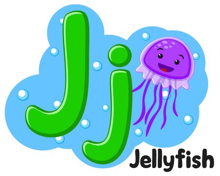 Alphabet sea jellyfish the letter Jj on a white background. Preschool education. Ilustração