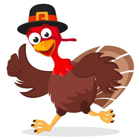 Turkey in a hat runs on a white background. Character