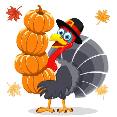 A turkey in a hat holds a pumpkin on a white background. Thanksgiving Day.