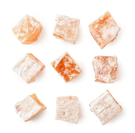 Set of sweets turkish delight on a white. The view of the top.