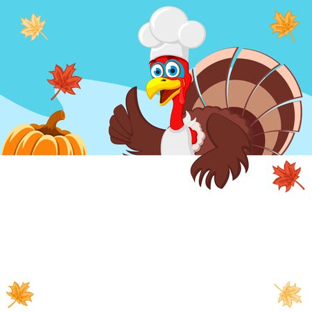Turkey cook looks out from behind a white shield. Thanksgiving, copy space. Stock Photo
