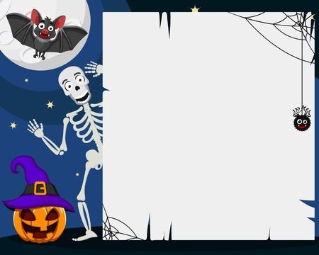 A skeleton peeks out from behind a white leaf next to a pumpkin and a bat, Halloween background. Space for text. Banco de Imagens - 130948450
