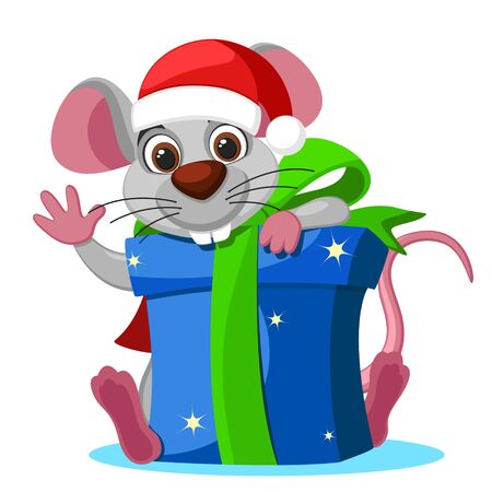 Mouse in a hat looks out from behind a box gifts on a white background. Christmas