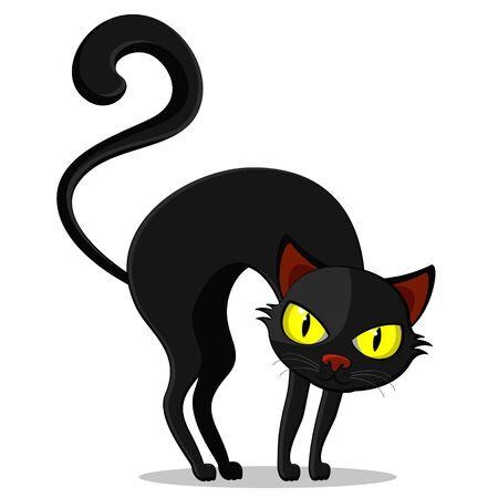 A black cat with a curved back on a white background, a character. Halloween Çizim