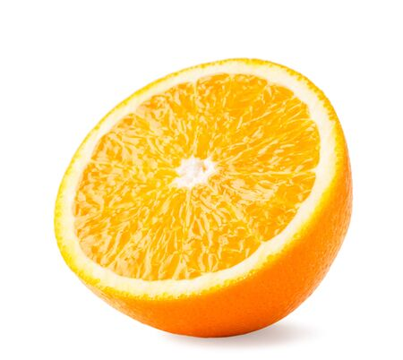 Half of juicy orange close up on a white, isolated. Stok Fotoğraf