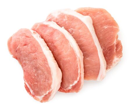 Slicing pork meat on a white background. The view of the top.