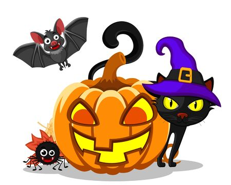 A black cat peeks out from behind a pumpkin, a spider and a bat on a white background, isolated. Halloween Banco de Imagens - 131602666