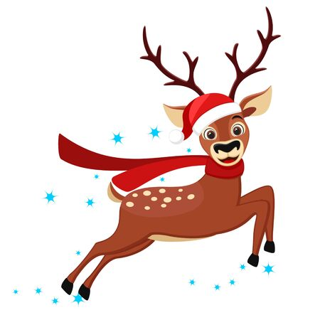 A deer in a hat and scarf runs on a white background. Christmas character