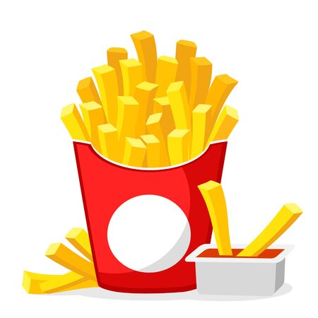 French fries with sauce on a white background. Fast food Иллюстрация