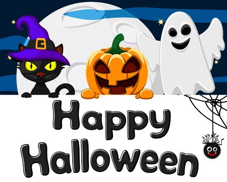 Black cat, pumpkin hat and a Ghost peeking out from behind a white sheet, a place for text. Halloween