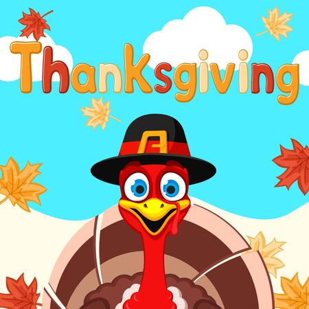 The Turkey in the hat smiles and looks out at the autumn background. Thanksgiving day.