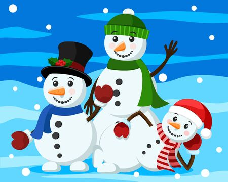 Three snowmen in hat and caps on a winter background. Christmas characters Stok Fotoğraf