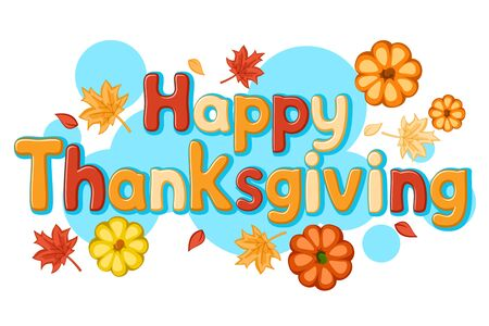 Happy thanksgiving text with pumpkins and autumn leaves on a white. Çizim