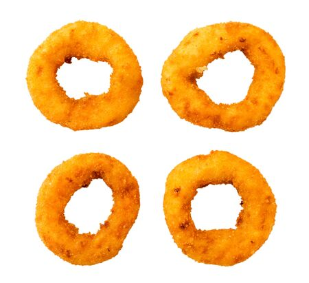 Set of fast food onion rings on a white, isolated. The view of the top.