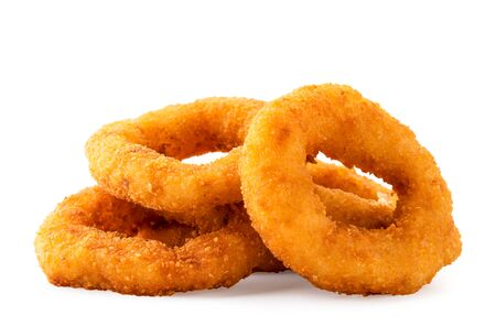 Pile of fast food onion rings on a white, isolated.