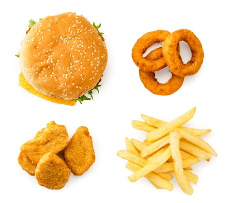 Burger, nuggets, French fries and onion rings on white background, set of fast food. The view of top. Stok Fotoğraf