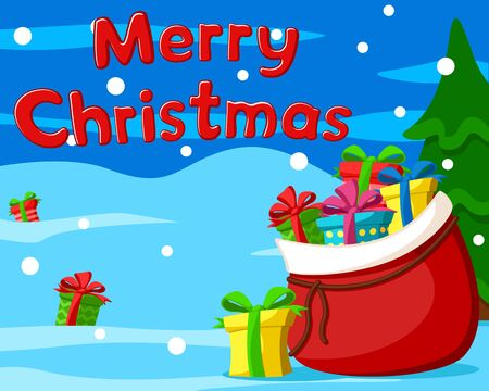 Santa Claus bag with boxes of gifts scattered in the snow on a winter background. Merry Christmas