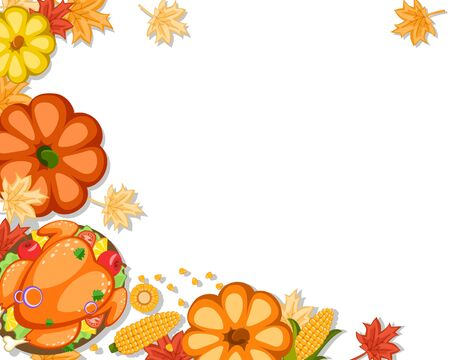 Roast Turkey, pumpkins, corn and autumn leaves on a white, place for text. Thanksgiving day. Stok Fotoğraf - 132913433