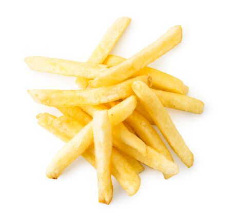 Pile of French fries on a white background, isolated. The view of the top.