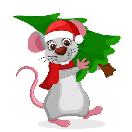 Mouse carries a Christmas tree on a white, New Year 2020.