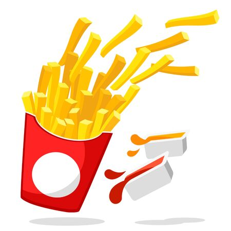 French fries flying out of a box with two sauces on a white background. Fast food