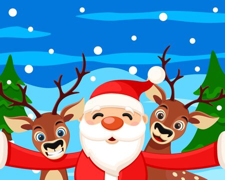Santa Claus takes a selfie with reindeer in the winter forest. Christmas characters