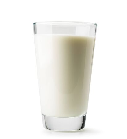 Glass of fresh milk close-up on a white background. Isolated. Stok Fotoğraf - 132487992