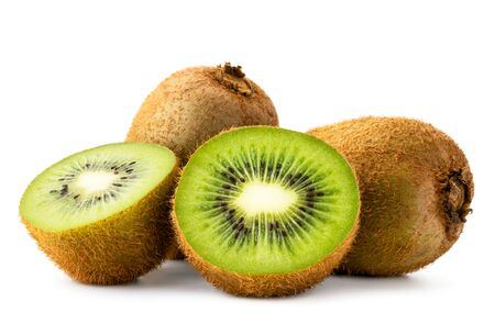 Ripe kiwi and two halves on a white background. Isolated
