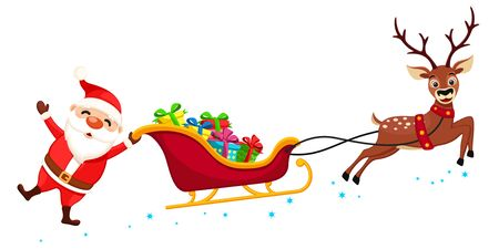Santa Claus holding one hand on the sleigh with gifts and waving, on a white background. Christmas characters