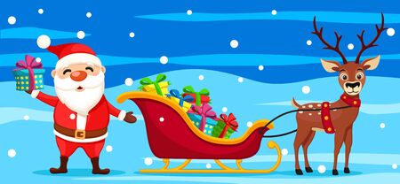 Santa Claus is holding a gift next to a sleigh and a deer on a blue background. Christmas characters