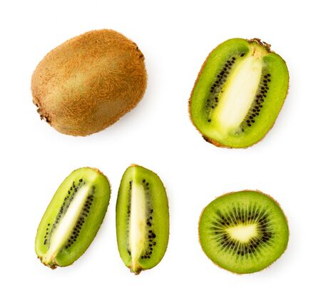 Set of ripe kiwi fruit, half and slices on a white. The view of the top.
