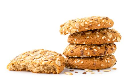 Oatmeal cookies with seeds on a white background. Isolated.