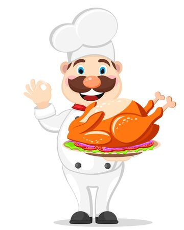 Cook holds a roast Turkey on a tray and shows the class on a white. Thanksgiving day. Stok Fotoğraf - 132913493