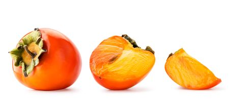 Set of ripe persimmon, half and slice close-up on a white background. Isolated.