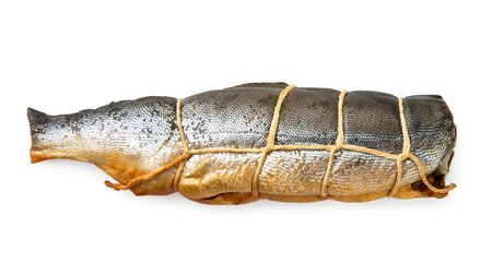 Smoked fish tied with a rope on a white background, isolated. The view of the top.