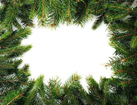 Frame of Christmas tree branches on a white background, space for text. The view of the top. Stok Fotoğraf - 132710648