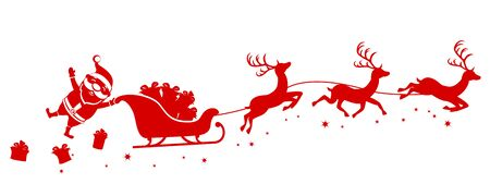 Silhouette of Santa holding one hand on a sleigh with reindeer and waving on a white background. Christmas, new year Çizim