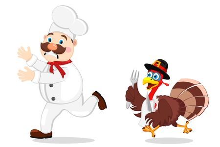Cook escapes from Turkey with fork and knife on a white background. Thanksgiving day. Stok Fotoğraf