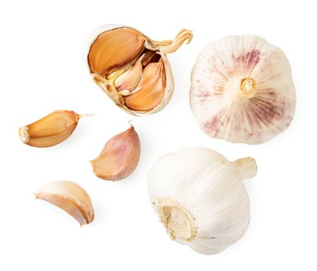 Garlic, half and slices on a white background, isolated. The view of the top. Stok Fotoğraf - 132803162